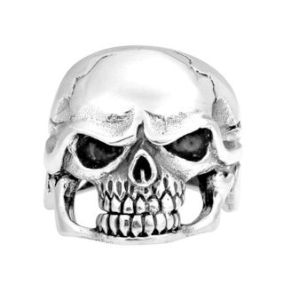 Awesome Biker Big Shiny Skull .925 Silver Ring (Thailand)