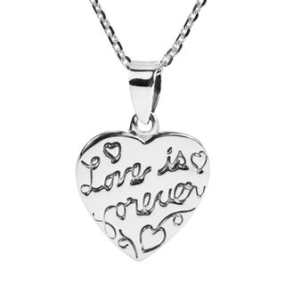 Handmade Inspirational Phrase 'Love is Forever' .925 Silver Necklace (Thailand)
