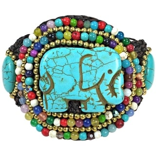 Regal Elephant Turquoise and Mix Stone Handmade Bracelet (Thailand)