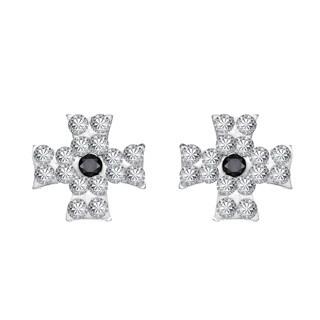 Maltese Cross Cubic Zirconia .925 Silver Stud Earrings (Thailand)