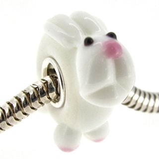 Queenberry Sterling Silver White Rabbit Glass Murano Lampwork European Bead Charm