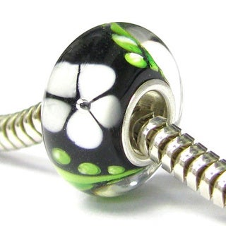 Queenberry Sterling Silver Rondelle Murano Flower Black Lampwork Glass European Bead Charm