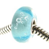 Queenberry Sterling Silver Round Turquoise Blue with Bubble Glass Murano Lampwork European Bead Char