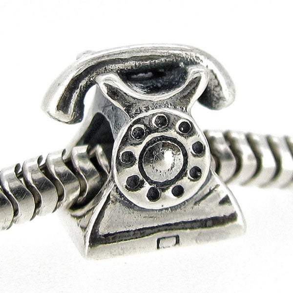 Queenberry Sterling Silver Classic Telephone European Bead Charm