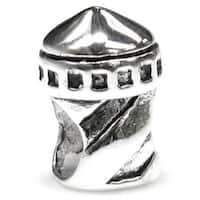 Queenberry Sterling Silver Lighthouse Tower European Bead Charm
