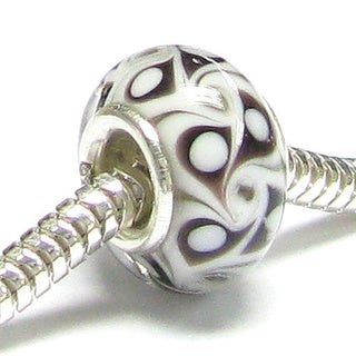 Queenberry Sterling Silver Black Glass European Bead Charm