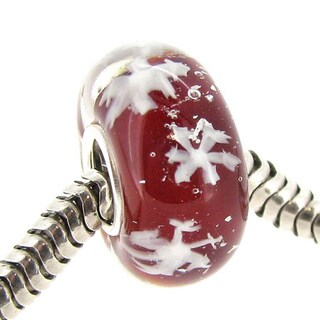 Queenberry Sterling Silver Round Snowflake Red Glass Christmas Lampwork European Bead Charm