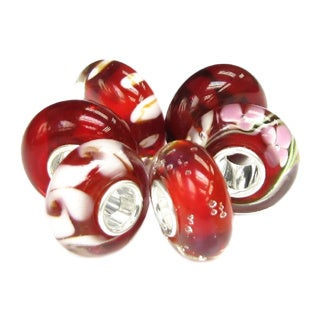 Queenberry 6-piece Sterling Silver Red White Flower Swirl Murano Lampwork Glass European Bead Charm