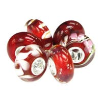 Queenberry 6-piece Sterling Silver Red White Flower Swirl Lampwork Glass European Bead Charm