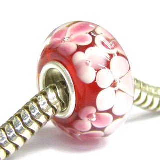 Queenberry Sterling Silver Round Murano Red Glass Flower European Bead Charm