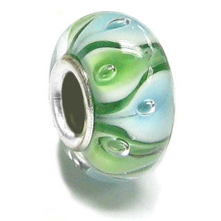 Queenberry Sterling Silver Round Murano Green Glass European Bead Charm