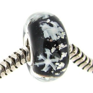 Queenberry Sterling Silver Round Snowflake Black Glass Christmas Murano Lampwork European Bead Charm