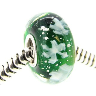 Queenberry Sterling Silver Round Snowflake Green Glass Christmas Murano Lampwork European Bead Charm
