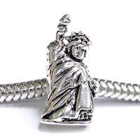 Queenberry Sterling Silver Statue of Liberty USA European Bead Charm