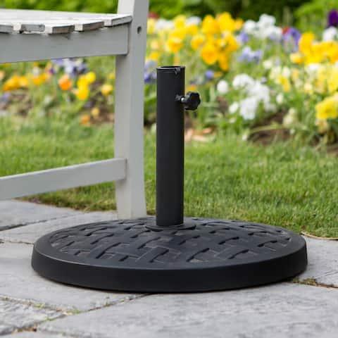 Patio Umbrella Base Woven - Black - 18 x 18 x 13h