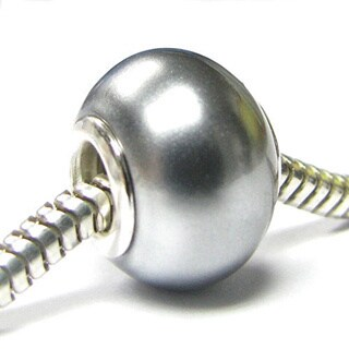 Queenberry Sterling Silver Light Grey Pearl European Bead Charm (10.6mm-14mm)