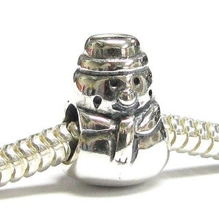 Queenberry Sterling Silver Snowman European Bead Charm