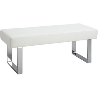 Somette Leah White Dining Bench