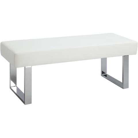 Somette Leah White Dining Bench - Dining Bench