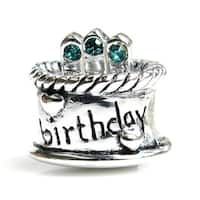 Queenberry Sterling Silver December Birthday Cake with Blue Cubic Zirconia Candle European Bead Char