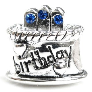 Queenberry Sterling Silver September Birthday Cake with Blue Cubic Zirconia Candle European Bead Cha