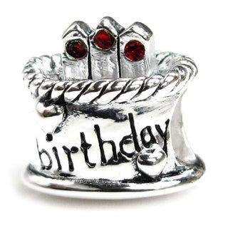 Queenberry Sterling Silver July Birthday Cake with Red Cubic Zirconia Candle European Bead Charm