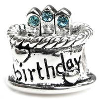 Queenberry Sterling Silver March Birthday Cake with Blue Cubic Zirconia Candle European Bead Charm
