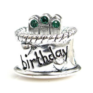 Queenberry Sterling Silver May Birthday Cake with Green Cubic Zirconia Candle European Bead Charm