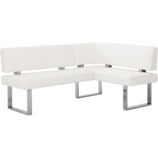 Somette Leah White Nook Corner Dining Bench