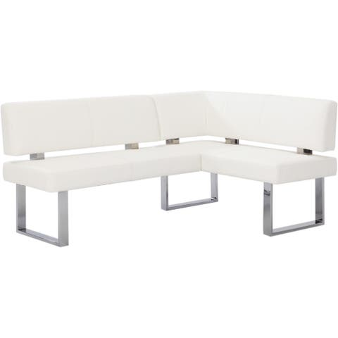 Somette Leah White Nook Corner Dining Bench
