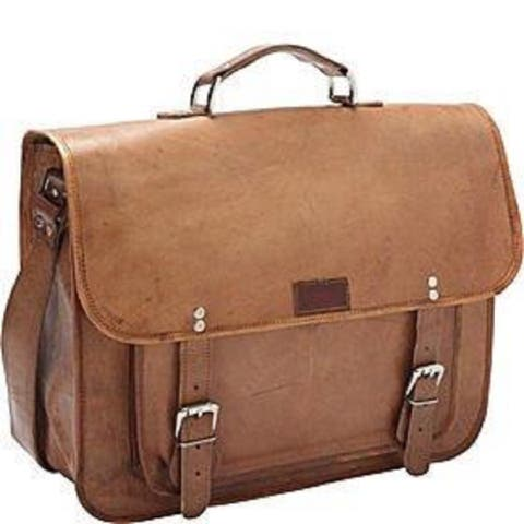 Sharo 16-inch Brown Laptop/ Tablet Flapover Briefcase