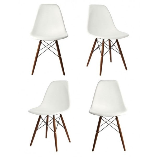Contemporary retro molded style white accent plastic for Contemporary plastic dining chairs