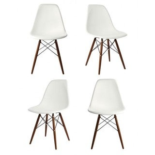 Contemporary Retro Molded Style White Accent Plastic Dining Shell Chair (Set of 4)