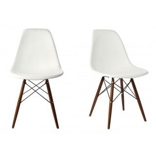 Contemporary Retro Molded Style White Accent Plastic Dining Shell Chair with Dark Walnut Wood Eiffel Legs (Set of 2)