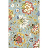 Hand Tufted Floral Pattern Blue/ Multi  Wool Area Rug (8' x 10') - (As Is Item)