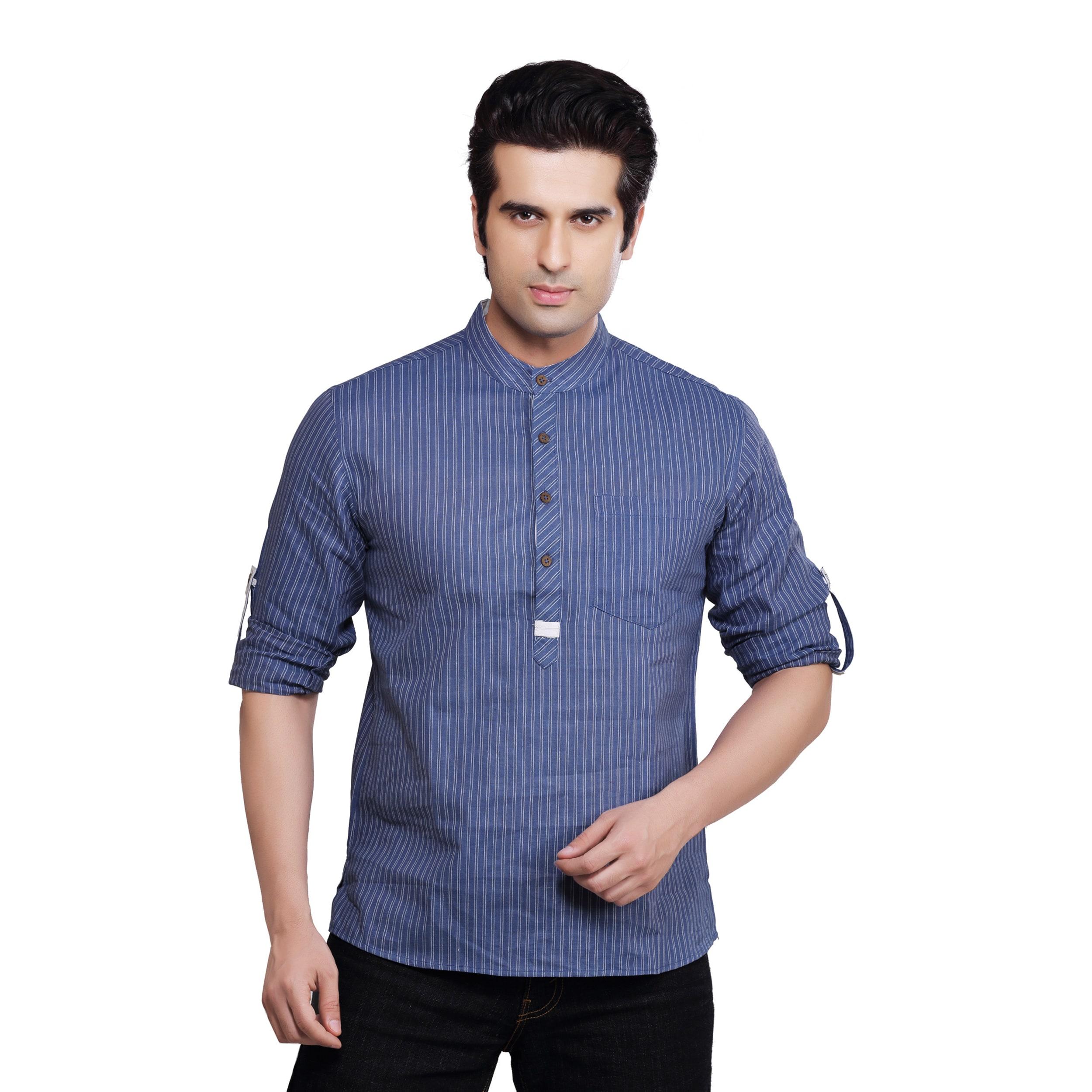 Handmade Shatranj Men's Kurta Tunic Banded Collar Multi-s...