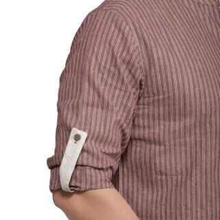 Shatranj Men's Kurta Tunic Banded Collar Multi-stripe Shirt (India)