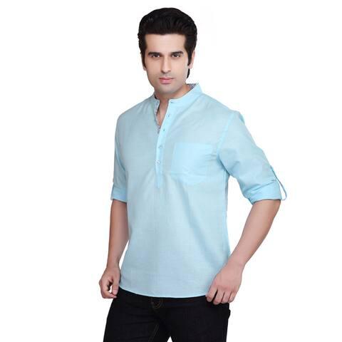 Handmade Shatranj Men's Banded Collar Kurta Tunic Solid Color Shirt (India)