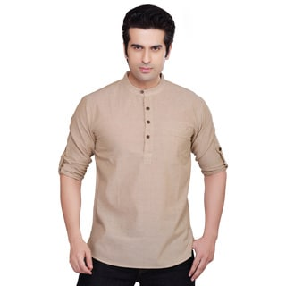 Shatranj Men's Solid Color Kurta Tunic Banded Collar Shirt (India)