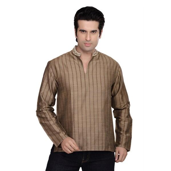 Handmade Shatranj Mens Kurta Tunic Banded Collar Vertical Stripe Shirt (India)
