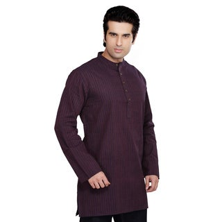 Shatranj Men's Multi-stripe Kurta Tunic Banded Collar Shirt (India)