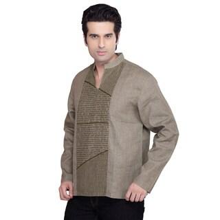 Shatranj Men's Kurta Tunic Banded Collar Decorative Front Shirt (India)