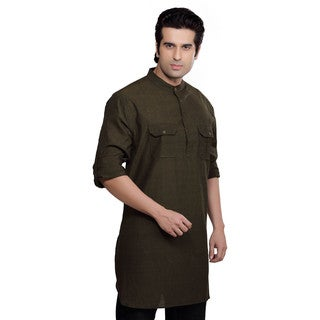 Shatranj Men's Solid Kurta Tunic Banded Collar Shirt (India)