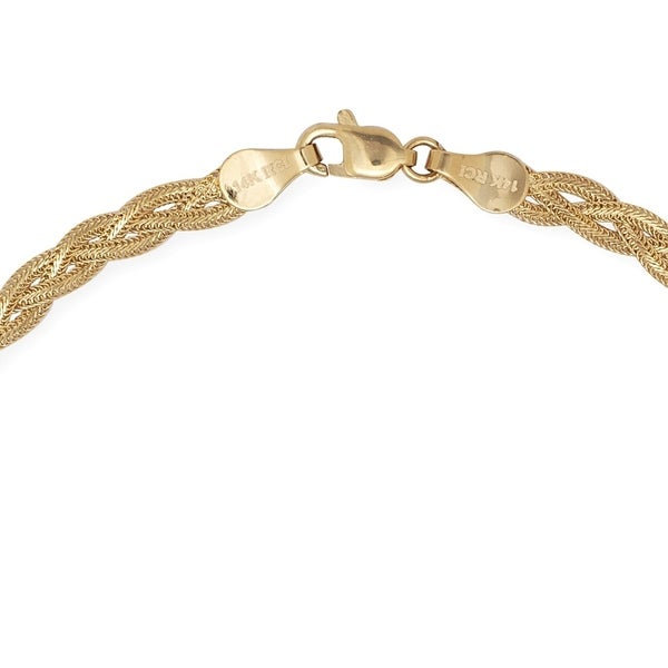 """14k Yellow Gold 3.5mm Braided Foxtail Anklet 10/"""" Lobster Claw"""