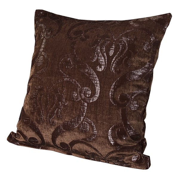 Casablanca Brown Damask Throw Pillow