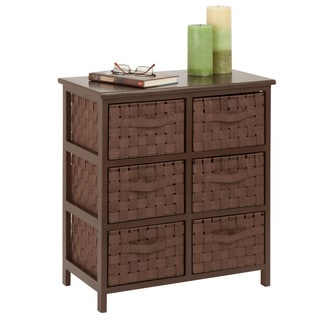 Woven Strap 6-Drawer Brown Chest