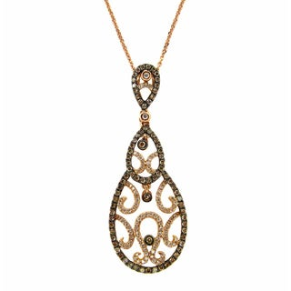 Kabella 18k Rose Gold 3/4ct TDW Diamond Filigree Teardrop Necklace (G-H, SI1-SI2)