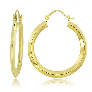 Mondevio 14K Gold 2mm Knife Edge Round Hoop Earrings, 22mm