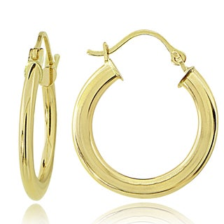 Mondevio 14K Gold 1 6mm Flat Round Hoop Earrings 20mm
