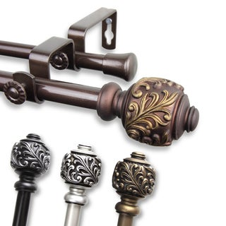 InStyleDesign Tova Adjustable Double Curtain Rod in  Antique Gold - 48 to 84 inch - (As Is Item)
